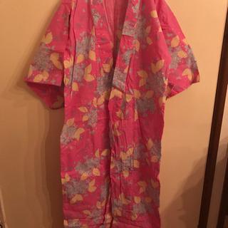 ピンク×紫陽花浴衣(帯、下駄、巾着一式)