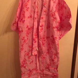 ピンク×朝顔浴衣(帯、下駄、巾着一式)