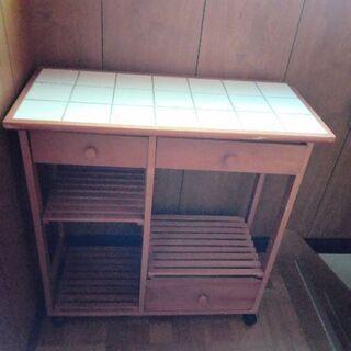 キッチンワゴンラック  カウンター 棚 シェルフ 木製 タイル ...