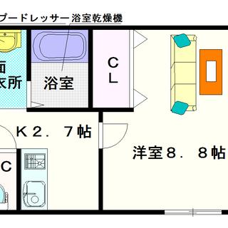 【プラシード夕陽丘】2号タイプ!1Kタイプ!広めの部屋じゃないと家...