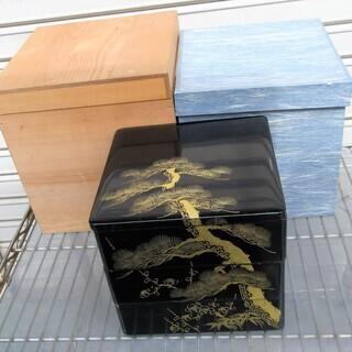☆木製 黒六五三段 本重 沈金 松台 松竹梅◆お正月にピッタリ