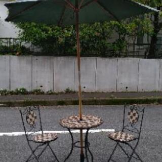 【受け渡し予定者決定】ガーデンテーブル&チェア&パラソル