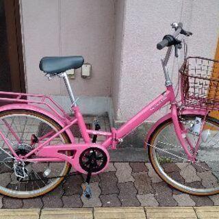 AvecVent Ville 22吋折り畳み小径自転車 外装6段/ピンク