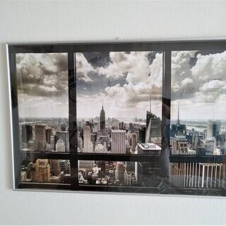 ニューヨーク マンハッタン 窓枠風 ポスター アルミ製額入り