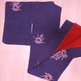 絹 袷 青みのあるグレー
