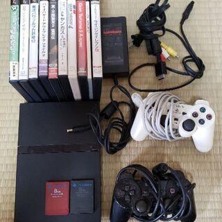 PlayStation2本体(コントローラ2つ)、メモリーカード...