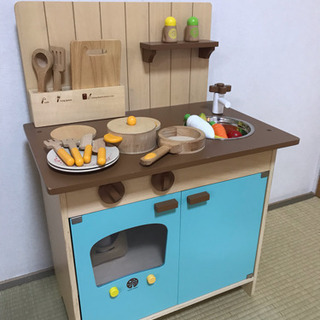 WODDY PUDDY 木製 おままごとキッチン+HAPE フラ...