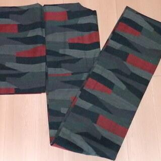 ウール 幾何学模様 緑みの青赤