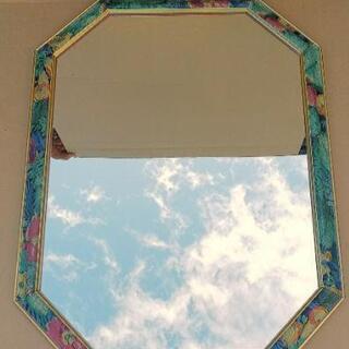 壁掛けミラー 鏡 姿見 8角形 大型サイズ