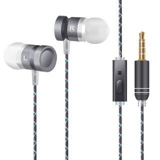 イヤホン 高音質 カナル型 重低音 ステレオ マイク 有線 (グレー)
