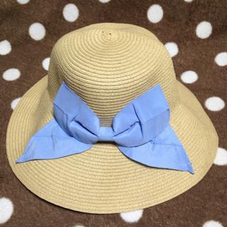 麦わら帽子 リボン 水色