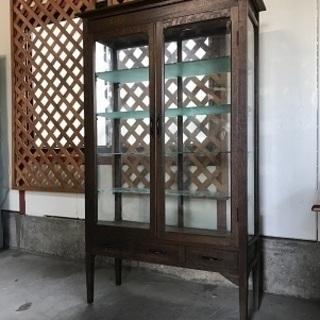 古いガラスケース アンティーク ケビント 医療棚 ドクター…