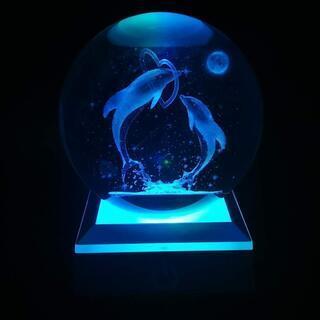 クリスタル ボール 80mm 水晶玉 LEDライト