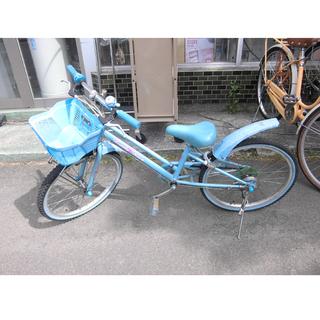 札幌 22インチ 子供用自転車 ブルー/青 カギ付き 鍵 6段変...