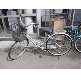 札幌 27インチ 自転車 ママチャリ シルバー/銀 鍵付き シテ...