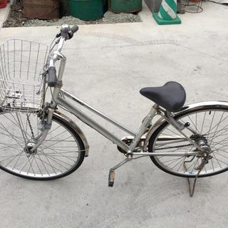 (配達付き)パナソニック製シルバー色の中古自転車(3速)