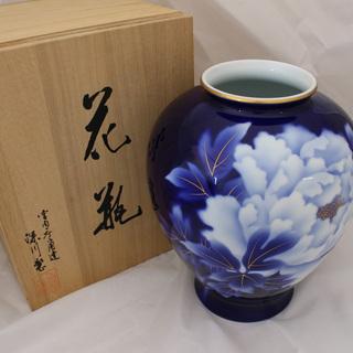◆新品◆ 深川製磁 ルリ牡丹 9号 花瓶 花生 口径/10…