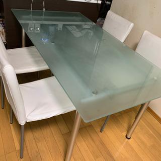 ガラストップダイニングテーブル5点セット