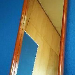 全身ミラー 天然木フレーム 鏡面 ブラウン 姿見鏡 立て掛け、吊り
