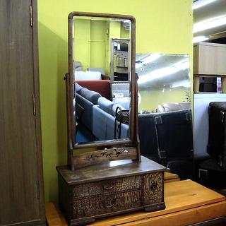 札幌 和家具 鏡台 ケヤキ張 幅46 アンティーク レトロ ドレ...