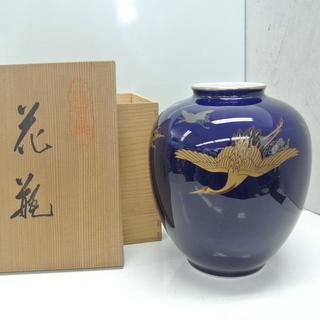 宮内庁御用達 深川謹製 深川製磁 鶴 花器 花瓶