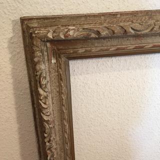 アンティーク 木製額縁 F10 レトロな絵付き