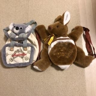 コアラ カンガルー ぬいぐるみリュックセットの画像
