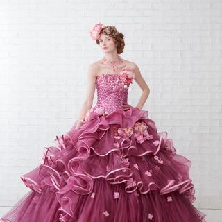 ウェディング カラードレス ピンク 3~7号