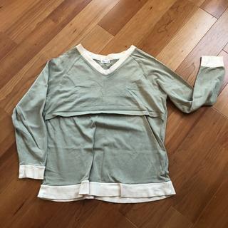 授乳ポケットのついた授乳服 トレーナー スエット