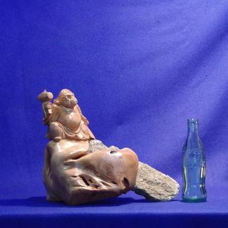 木彫石包大黒猿縁起置物 申 石根彫刻