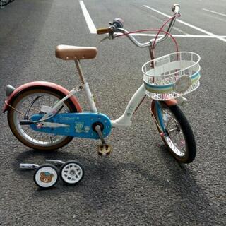 【取引中】リラックマ自転車☆16インチ補助輪あり