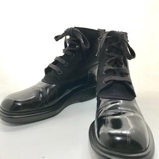 【GUCCI】 レザーハンティング ブーツ 黒 24㎝前後
