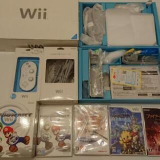 Wii本体+ソフト4本+D端子ケーブル+クラシックコントローラー他