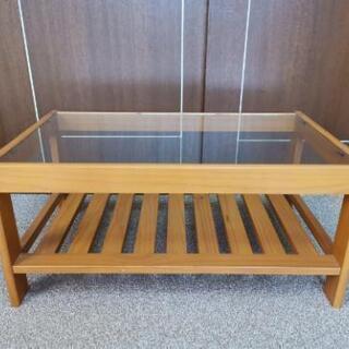 【値下げ】ガラストップ木製ローテーブル