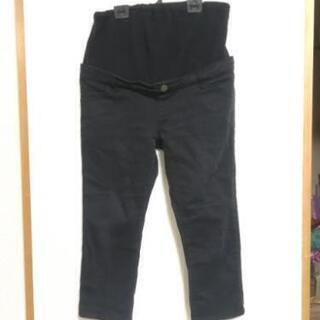 マタニティパンツ ブラック クロップドパンツ 七分丈ズボン Lサイズ