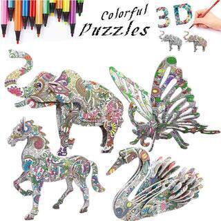 3D立体パズル 塗り絵