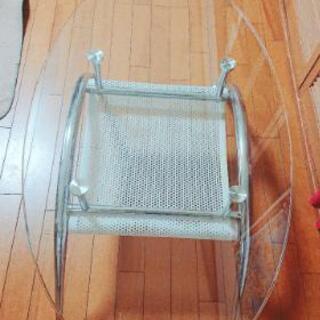 ガラス楕円形テーブル