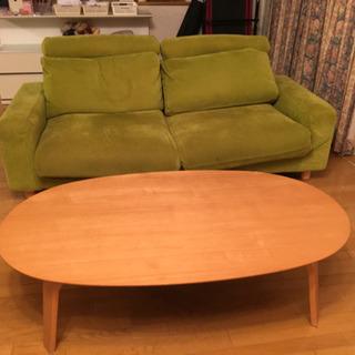 無印良品のゆったり二人がけソファ&コタツ付きテーブル