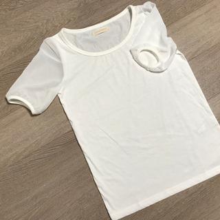 【未使用】白 袖 シフォン シースルー  Tシャツ