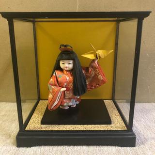【あげます】高級日本人形、ガラスケース有(破損あり)