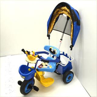 ides ミッキーマウス 三輪車 ブルー  舵取り棒付き (02...