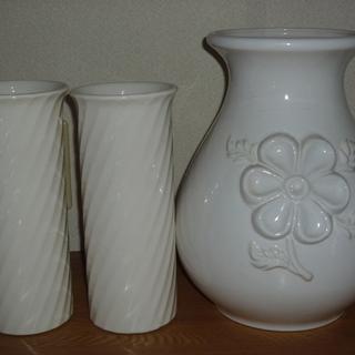 白い花瓶×3 陶器