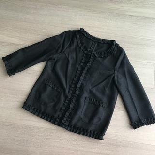 【未使用 タグ付き】黒 フリル ノーカラー  ジャケット