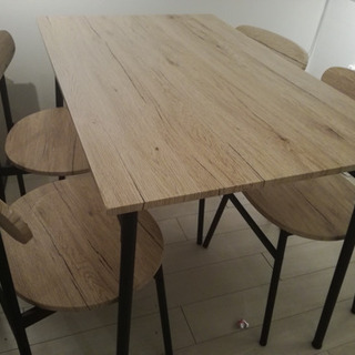ダイニングテーブル、椅子4脚セット