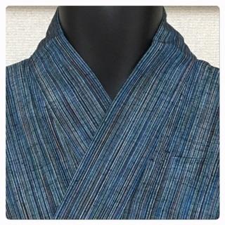 大サイズ 身丈150 裄69.5 紬 縞柄  男物 長着 単衣仕...