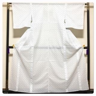 美品 夏絽 未使用 小紋 裄64 身丈158 白 化繊 中古品