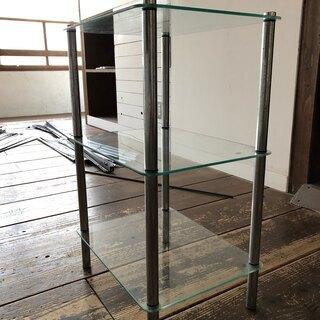 ガラスの棚 古道具 ビンテージ