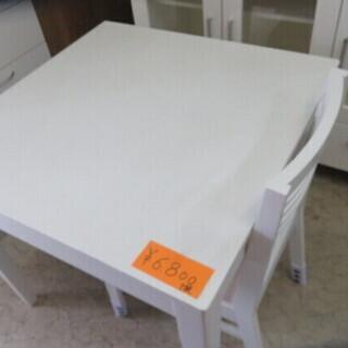 白い食卓テーブ 椅子1客付き