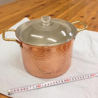 ② オシャレな寸胴 銅鍋 21cm 耐熱ガラス蓋