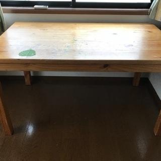 (値下げ)アトリエ作業で使った天然木ダイニングテーブル(中古)【幅...